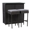 Patio Bar Set - Black Finish/Ash Gray Cushions -3pc