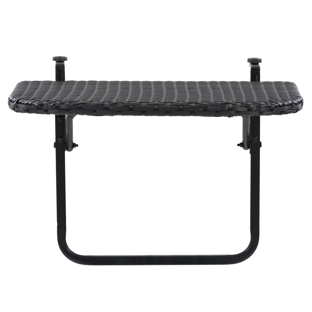 Parksville Black Rattan Foldable Balcony Table