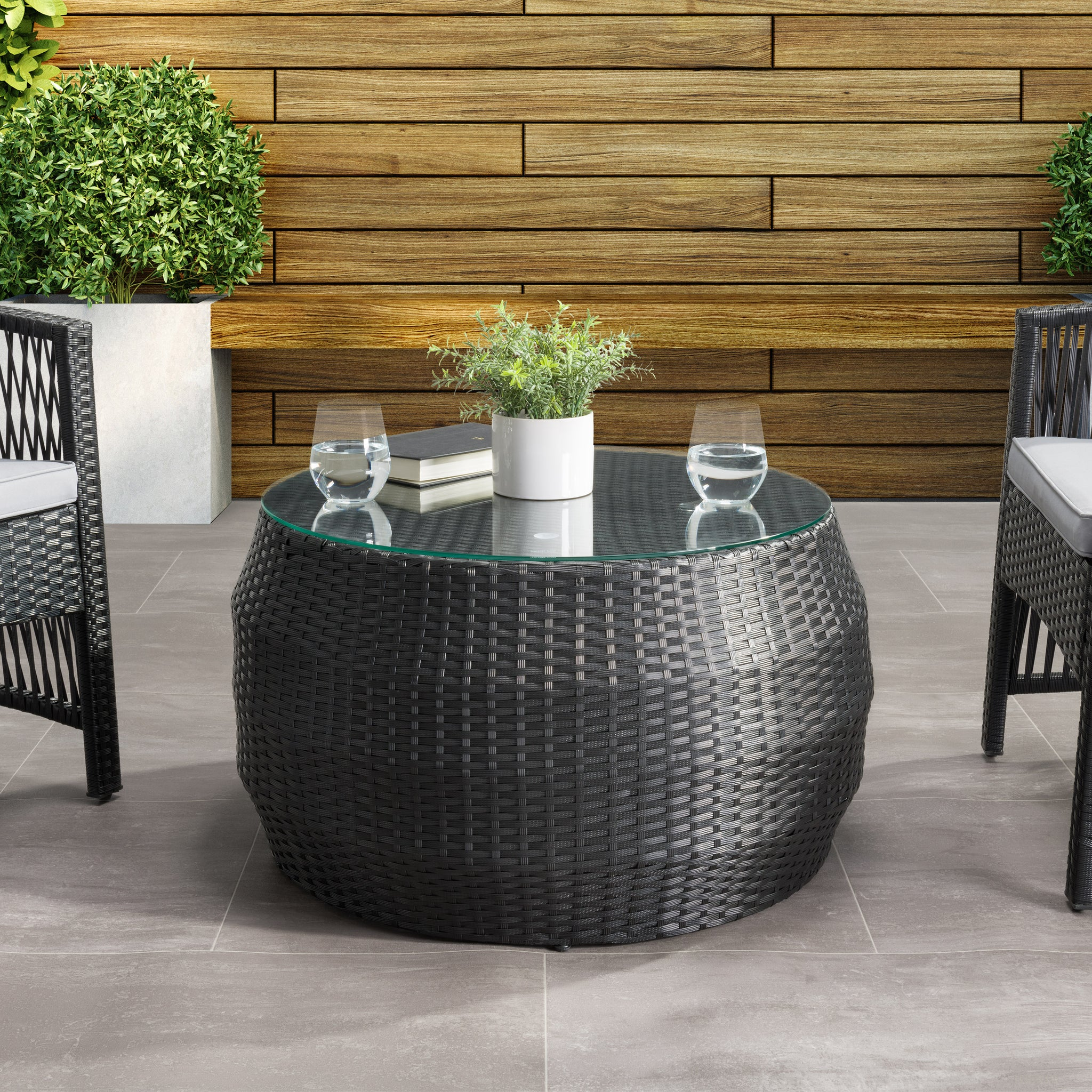 Parksville Black Rattan Round Coffee Table Corliving Furniture Us