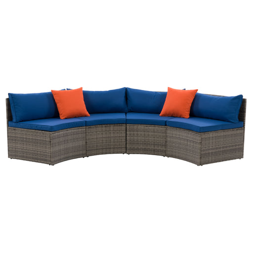 Patio Sectional Bench Set - Blended Grey Finish/Oxford Blue Cushions- 2pc