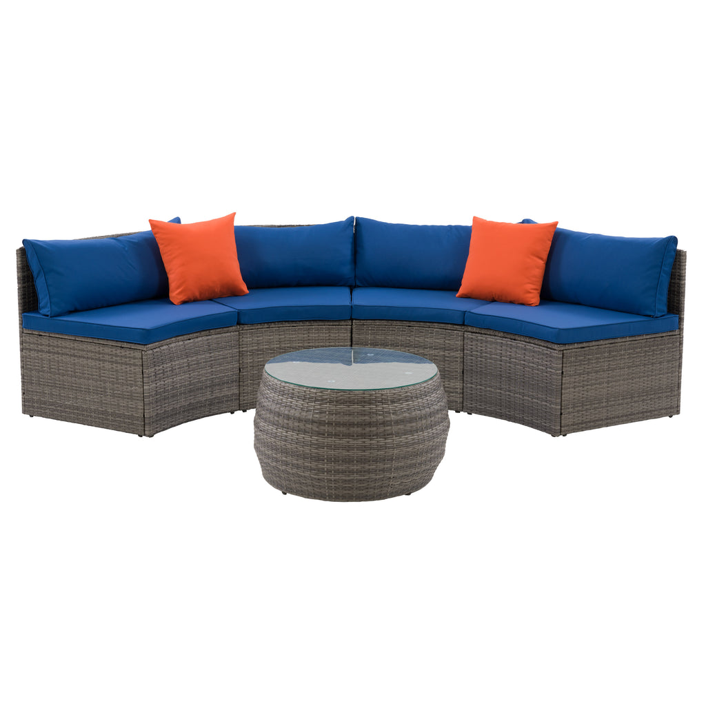 Patio Sectional Set - Blended Gray Finish/Oxford Blue Cushions- 3pc