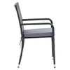 Patio Armchair Set Stackable - Black Finish/Ash Gray Cushions- 2pc