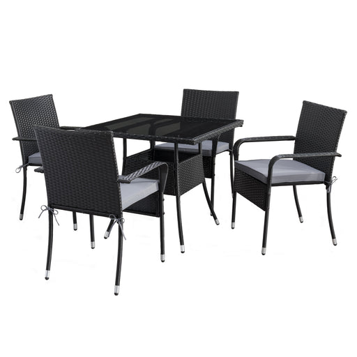 Square Patio Dining Set- Stackable Chairs -Black Finish/Ash Gray Cushions -5pc