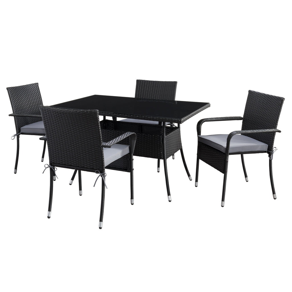 Rectangle Patio Dining Set - Stackable Chairs - Black Finish/Ash Grey Cushions- 5pc