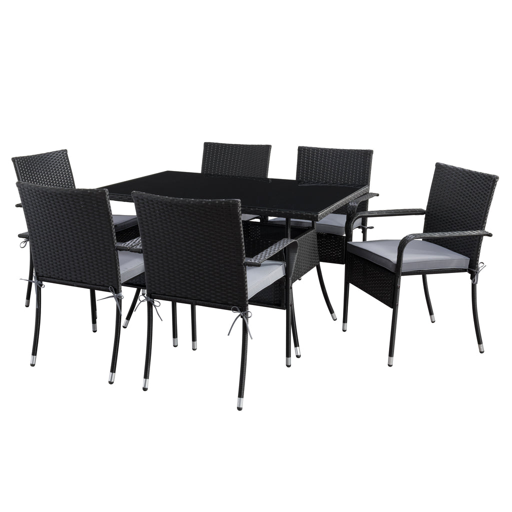 Rectangle Patio Dining Set- Stackable Chairs - Black Finish/Ash Gray Cushions- 7pc