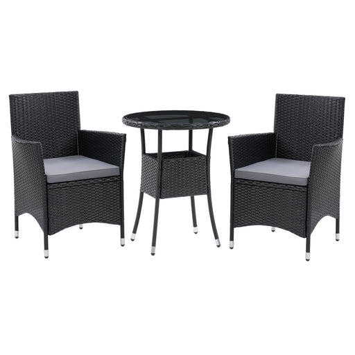 Parksville Black Rattan Bistro Dining Set 3pc
