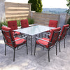 7pc Charcoal Black and Red Patio Dining Set - *CLEARANCE*