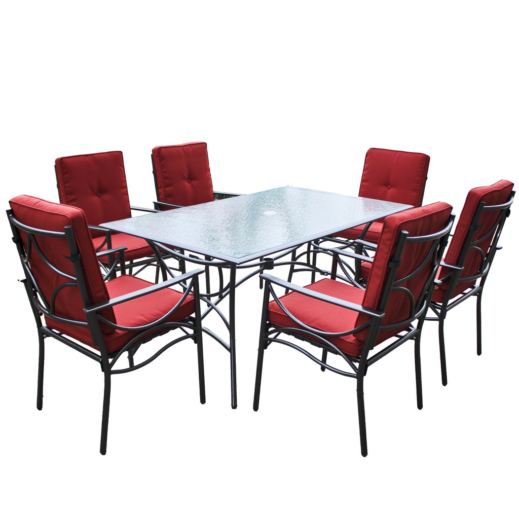 Charcoal Black and Red Patio Dining Set 7pc - *CLEARANCE*