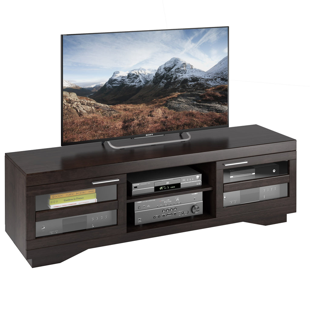 Mocha Black Wooden TV Stand, for TVs up to 80""