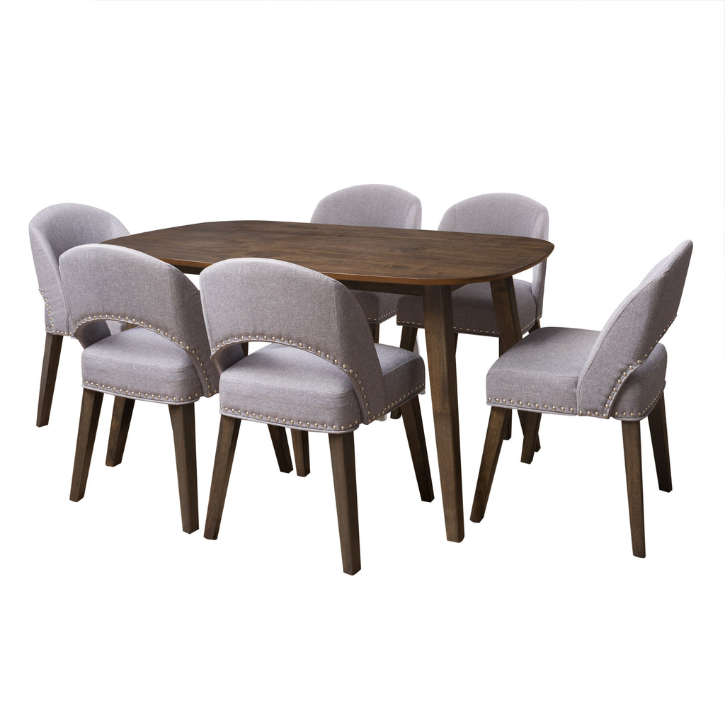 Tiffany Stained Dining Table with Upholstered Chairs 7pc