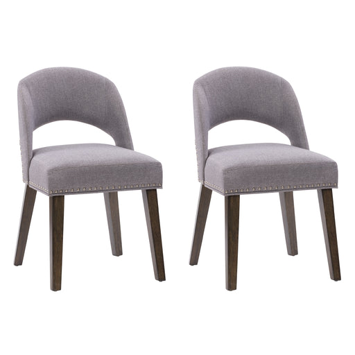 Tiffany Upholstered Dining Chair with Wood Legs, Set of 2
