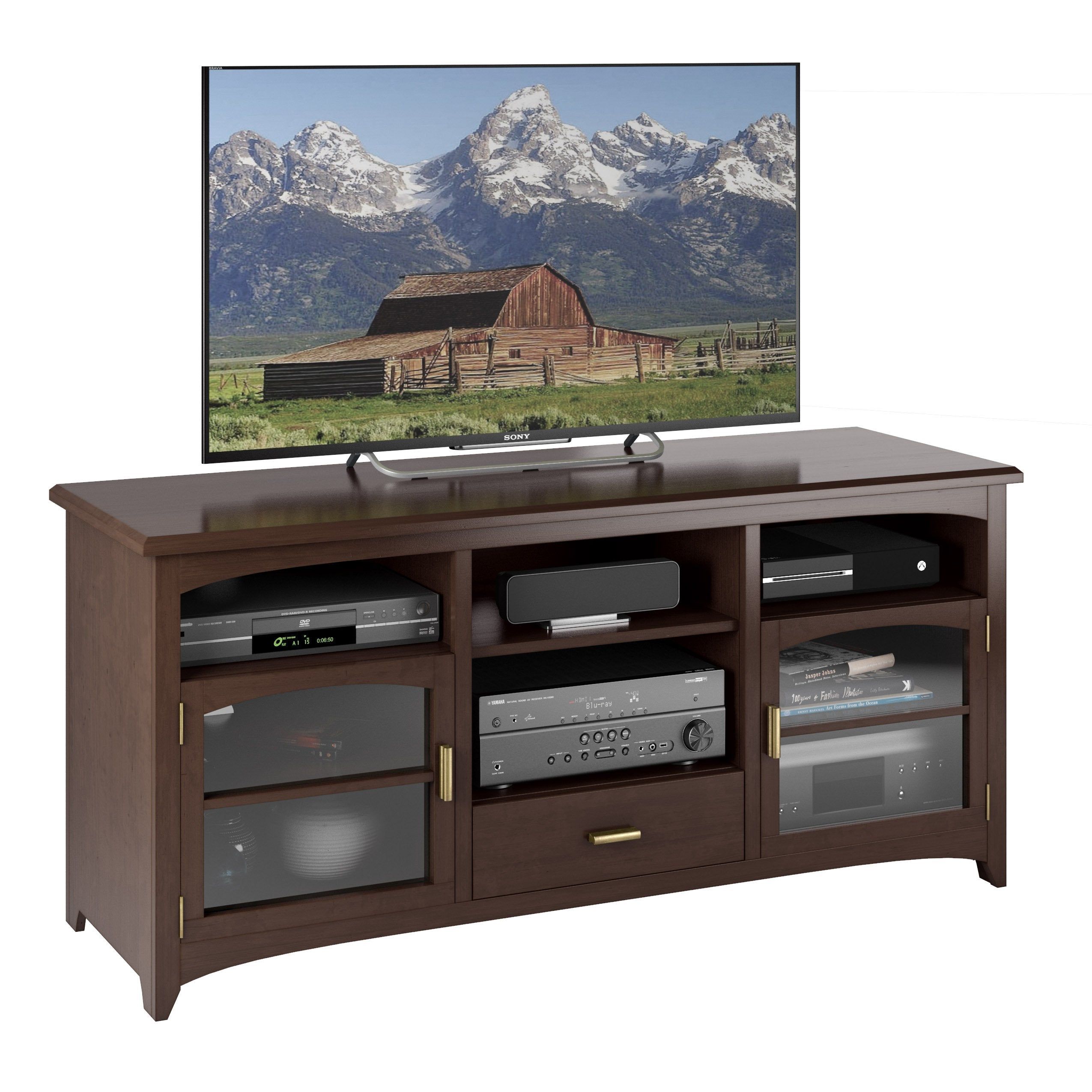 Stupendous Dark Espresso Wooden Tv Bench For Tvs Up To 70 Onthecornerstone Fun Painted Chair Ideas Images Onthecornerstoneorg