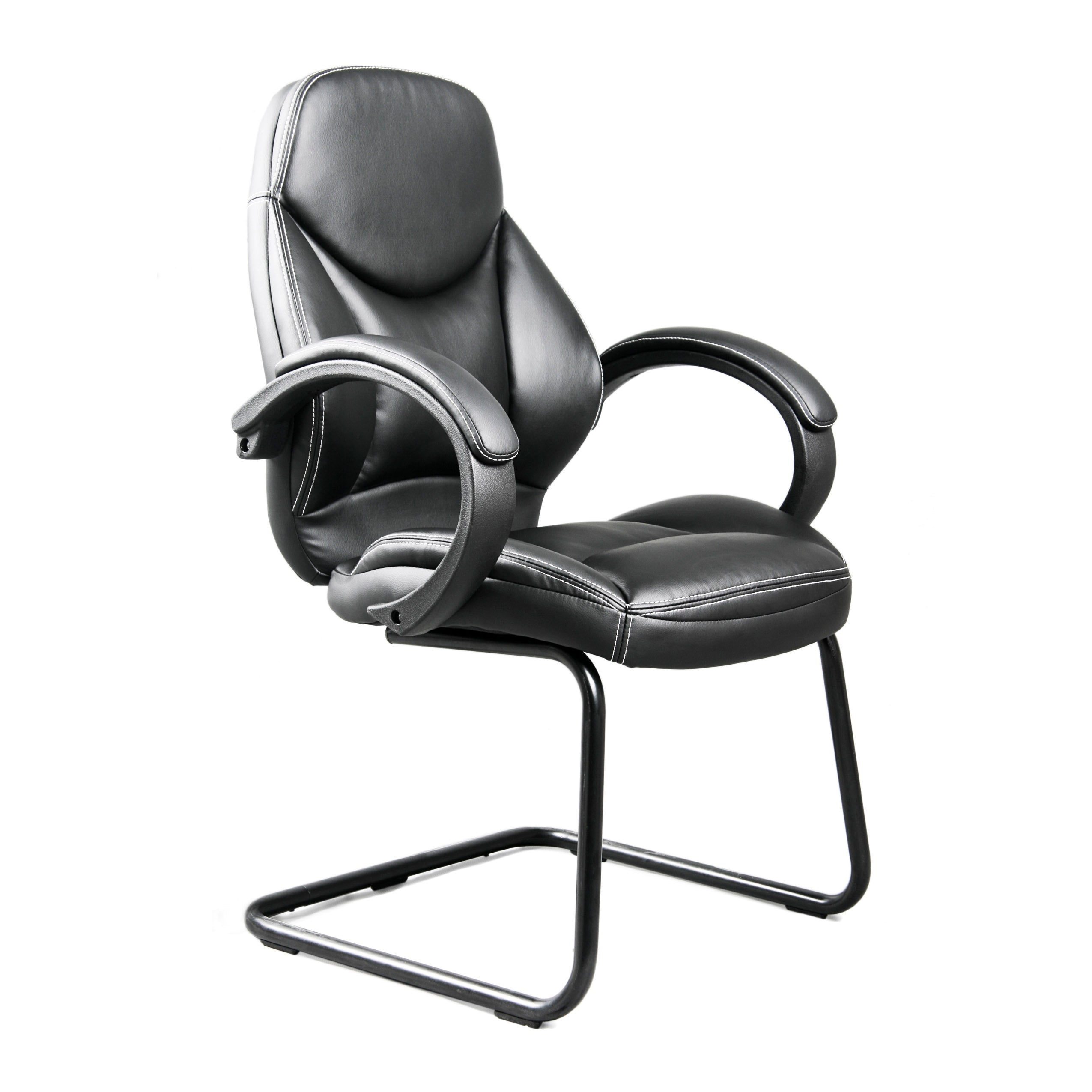 Black Bonded Leather Office Guest Chair. Touch to zoom  sc 1 st  CorLiving & Black Bonded Leather Office Guest Chair u2014 CorLiving Furniture US