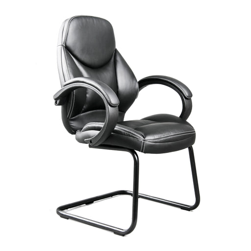 Workspace Black Bonded Leather Office Guest Chair - *CLEARANCE*