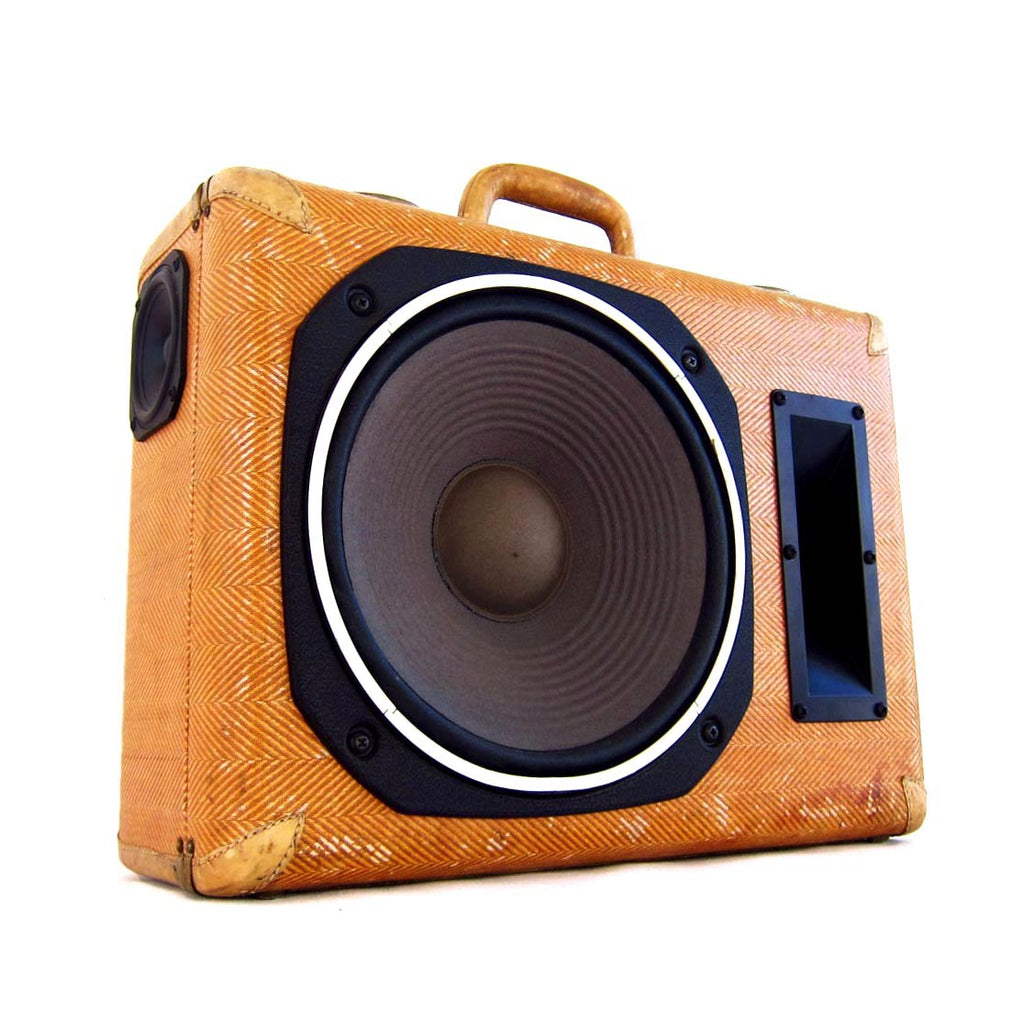 180 Degrees of Sound 200 Watt BoomCase - vintage suitcase portable boombox