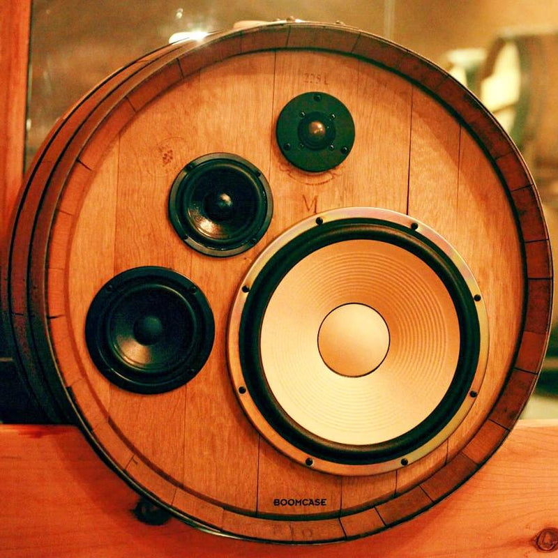 Wine Barrel Speakers 400 Watt BoomCase - Vintage Suitcase BoomBox Suitcase Speaker w/ Bluetooth