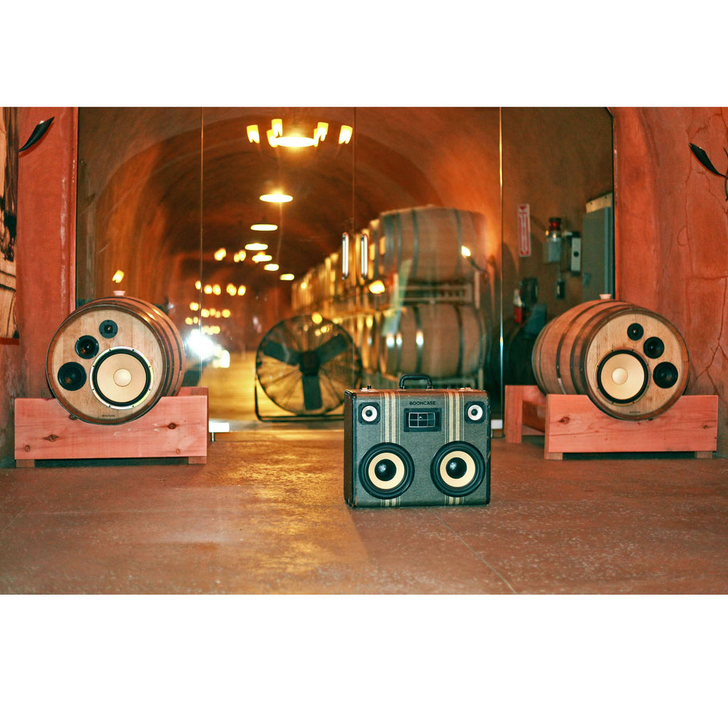 Wine Barrel Speakers 400 Watt BoomCase - vintage suitcase portable boombox