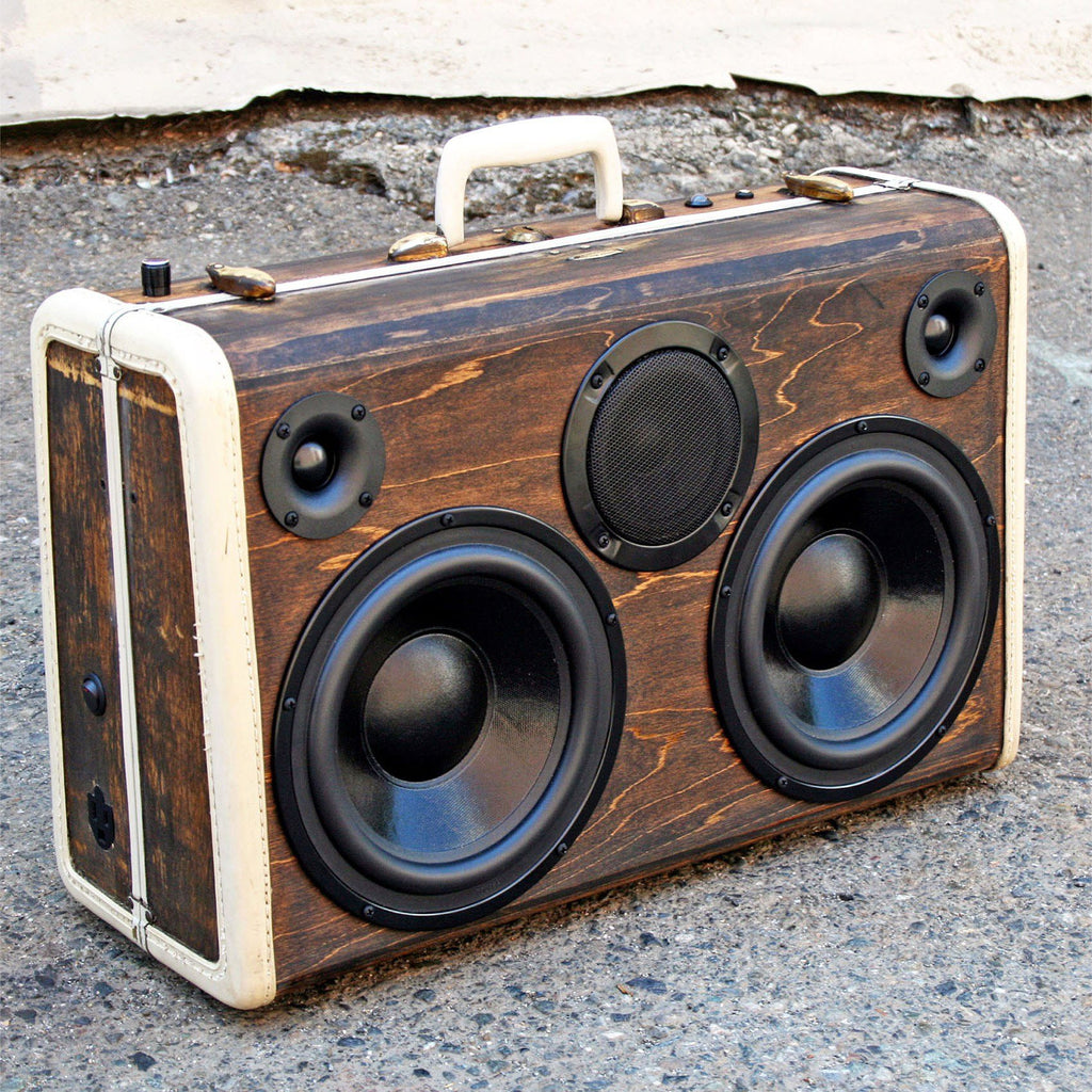 DJ Special Wood Grain 400 Watt BoomCase - vintage suitcase portable boombox
