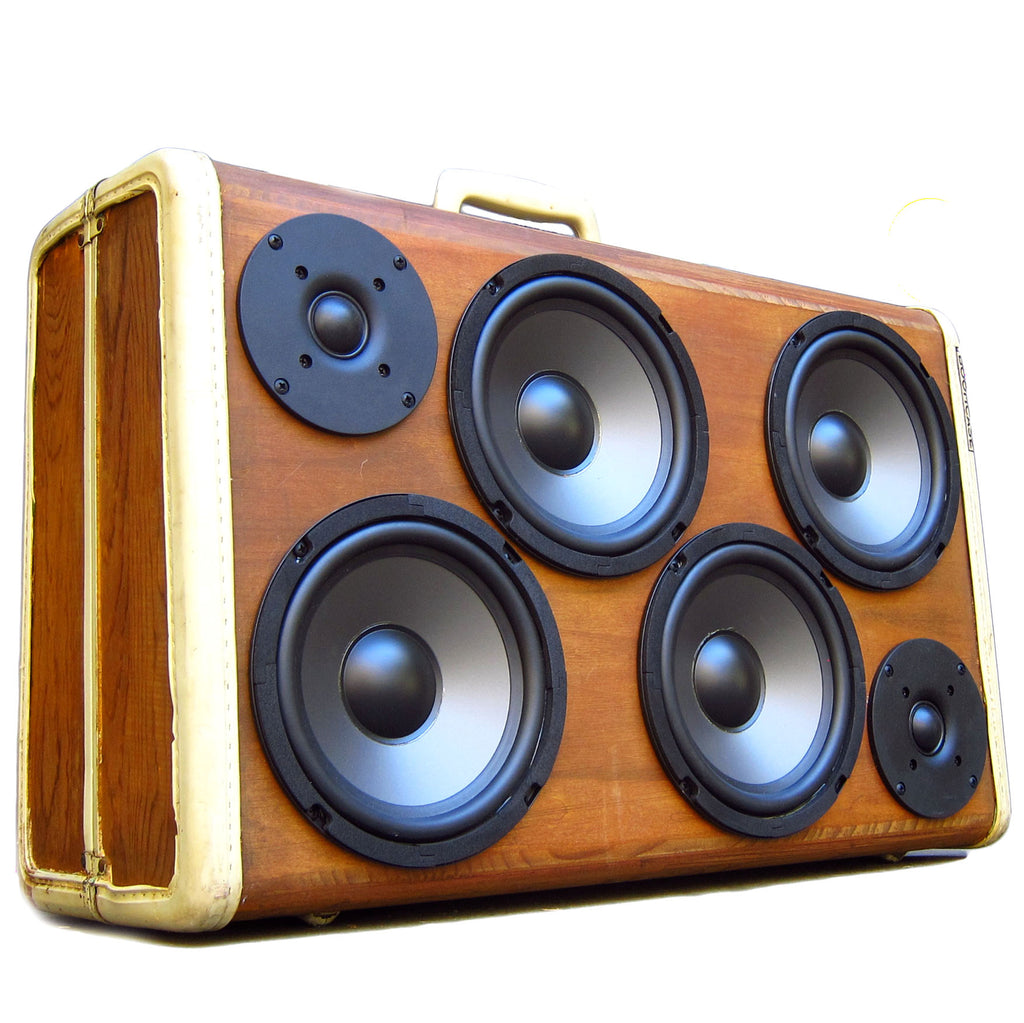 Signature Series Woodgrain 200 Watt BoomCase - vintage suitcase portable boombox