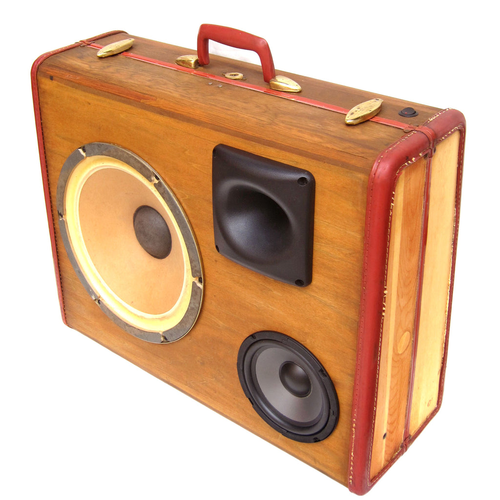 Rustic Grain 200 Watt BoomCase - Vintage Suitcase BoomBox Suitcase Speaker w/ Bluetooth