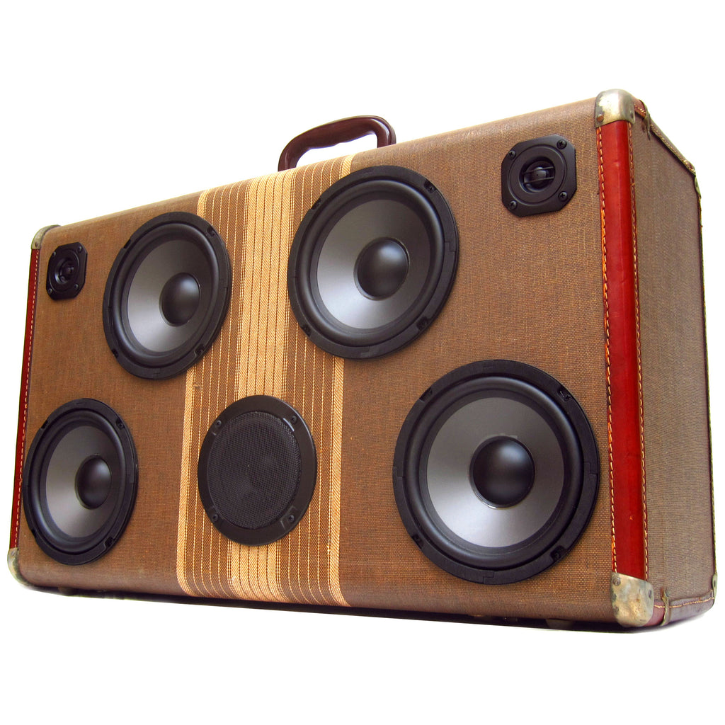 Signature Series Tweed II The BoomCase Store - Vintage Suitcase BoomBox Suitcase Speaker w/ Bluetooth