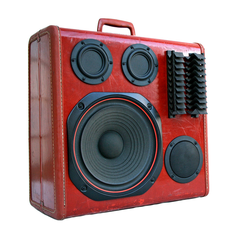 Tech Bot V 200 Watt BoomCase - Vintage Suitcase BoomBox Suitcase Speaker w/ Bluetooth