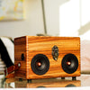 Zebra Wood 50 Watt BoomCase - Vintage Suitcase BoomBox Suitcase Speaker w/ Bluetooth