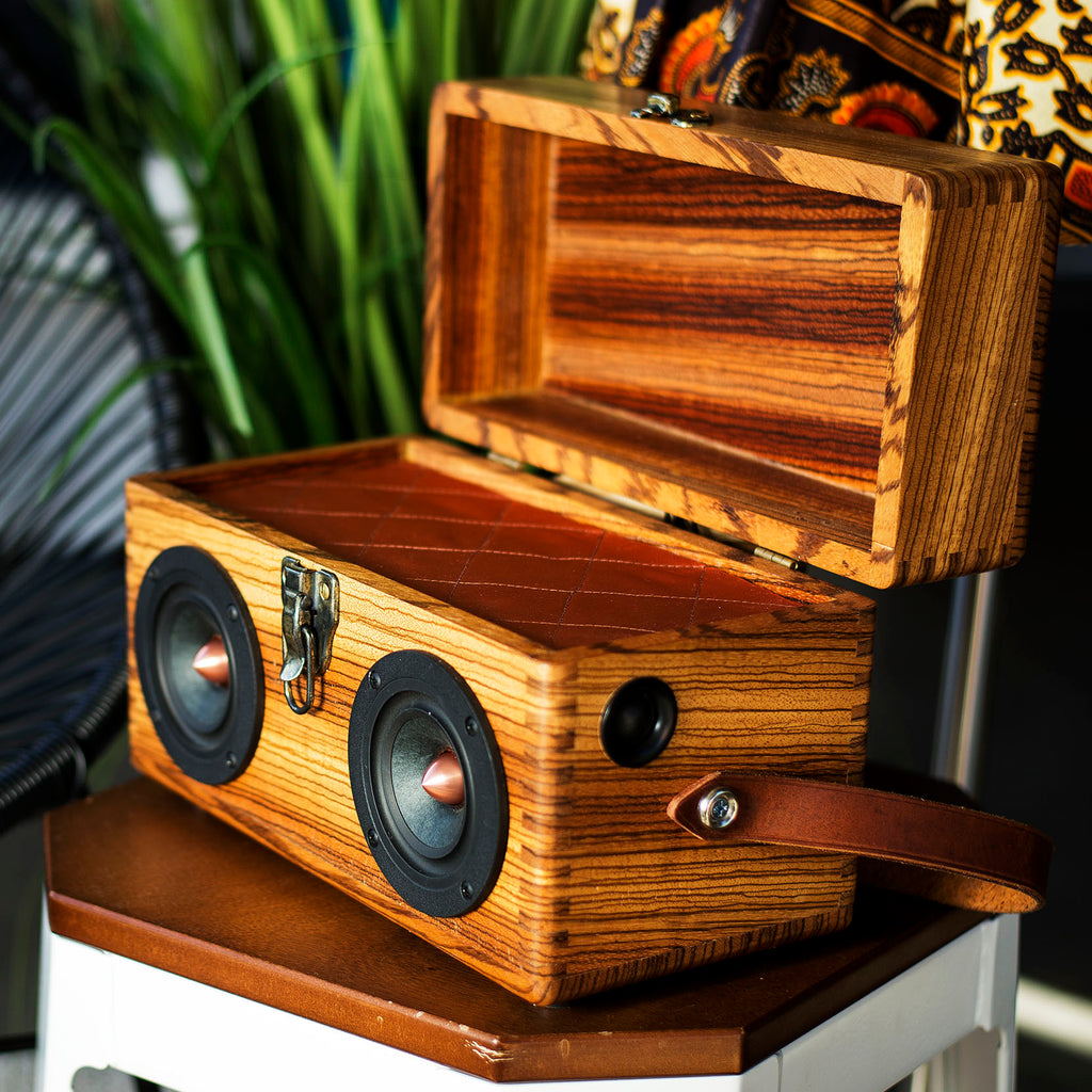 Zebra Wood 50 Watt BoomCase - vintage suitcase portable boombox