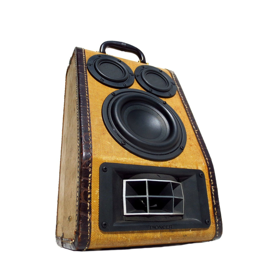 All Smiles 100 Watt BoomCase - Vintage Suitcase BoomBox Suitcase Speaker w/ Bluetooth