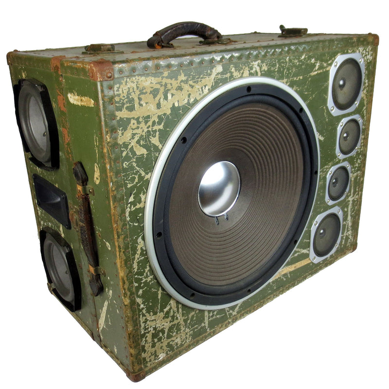 Army Monster 400 Watt BoomCase - Vintage Suitcase BoomBox Suitcase Speaker w/ Bluetooth
