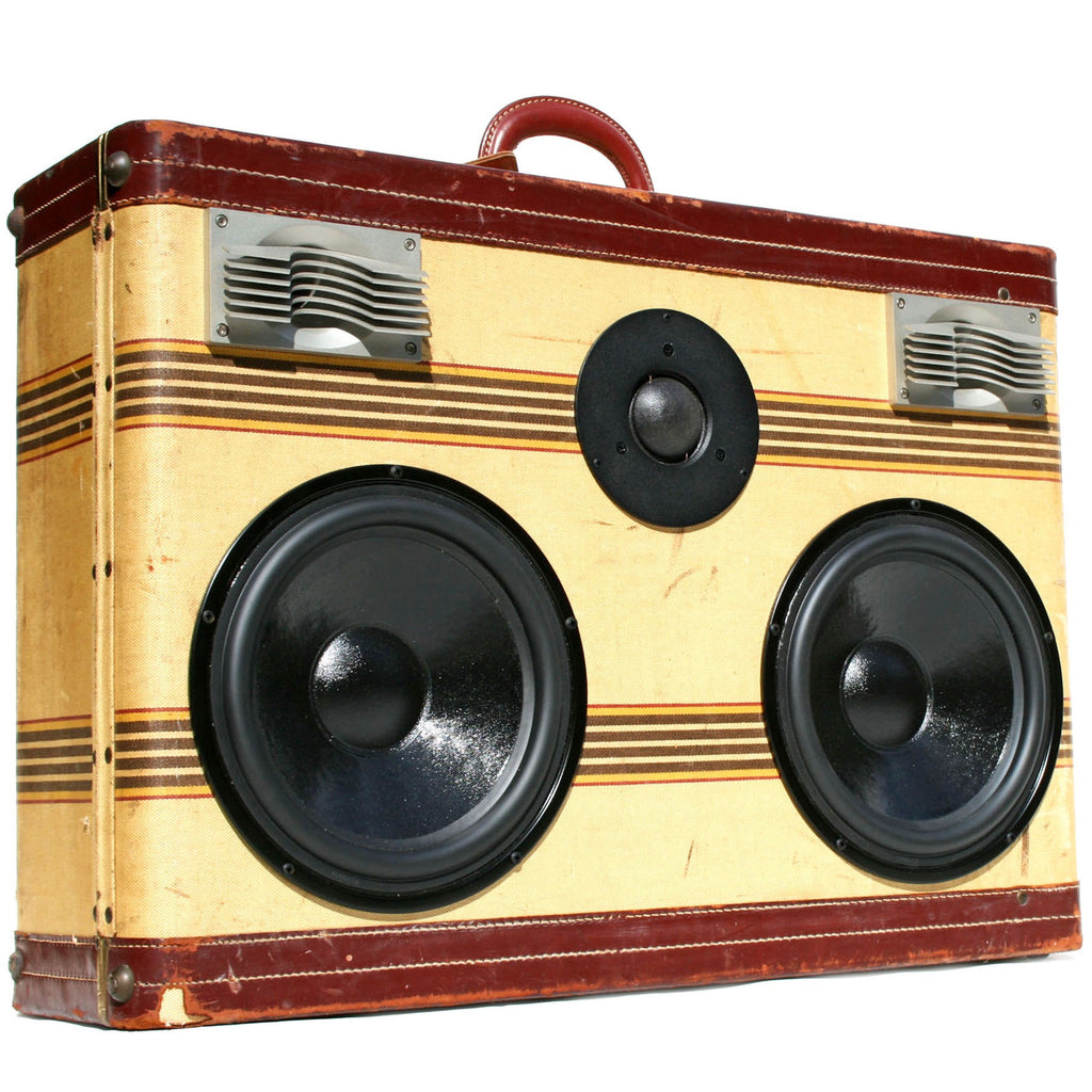 DJ Monster Tweed 400 Watt BoomCase - vintage suitcase portable boombox
