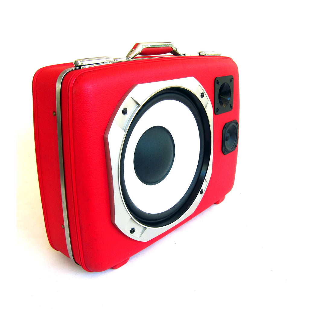 Big Red 200 Watt BoomCase - Vintage Suitcase BoomBox Suitcase Speaker w/ Bluetooth