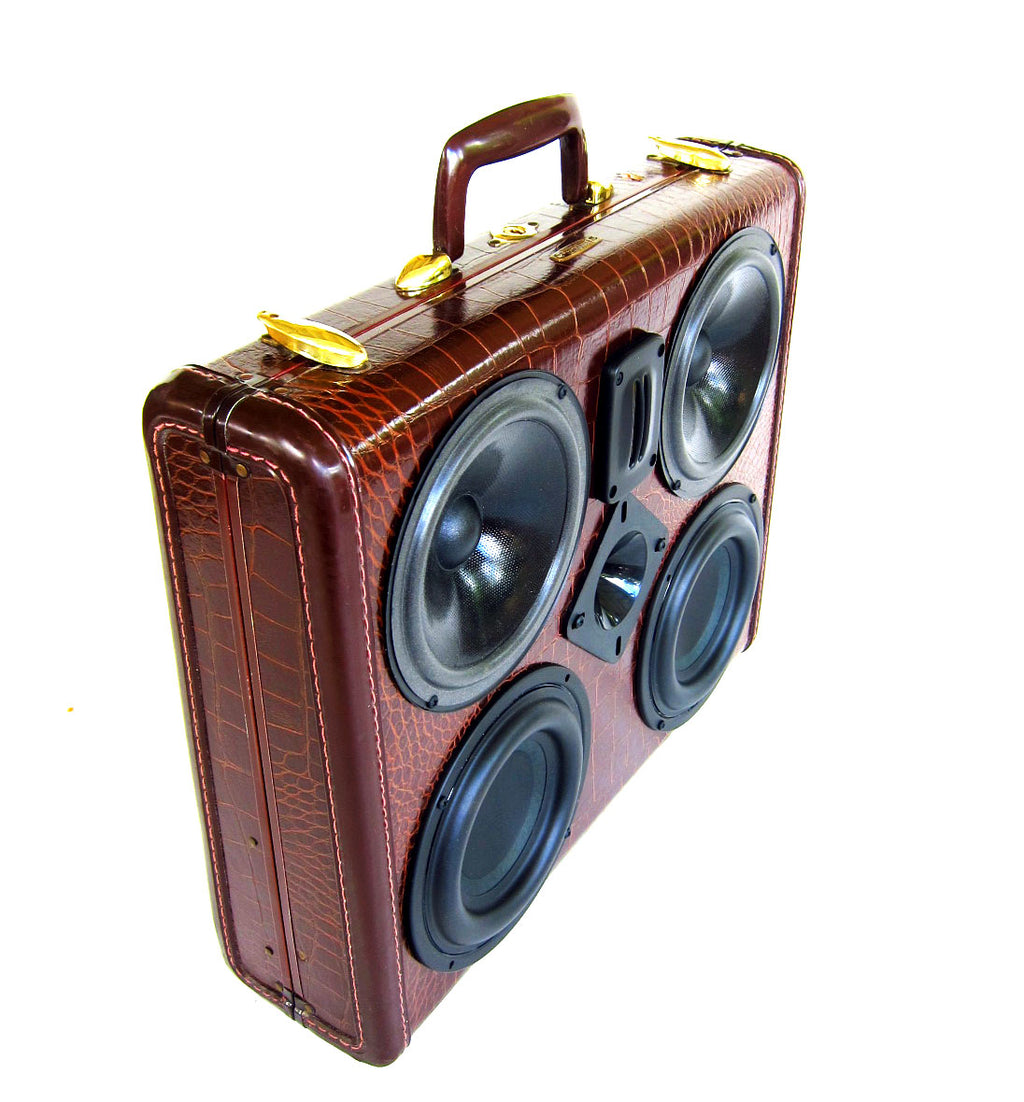 Business Gator 200 Watt BoomCase - Vintage Suitcase BoomBox Suitcase Speaker w/ Bluetooth