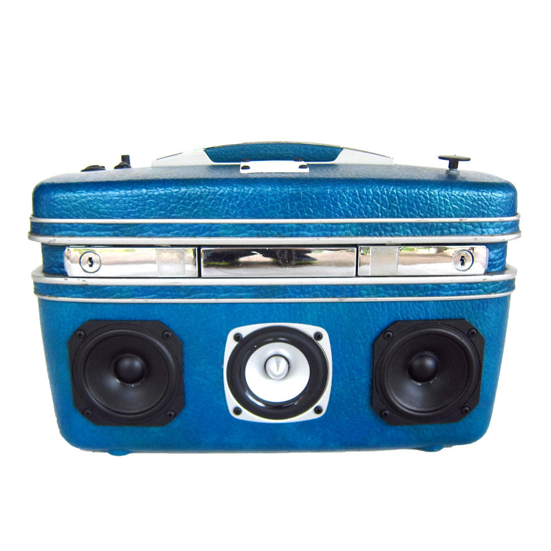 Little Blue 50 Watt BoomCase - Vintage Suitcase BoomBox Suitcase Speaker w/ Bluetooth