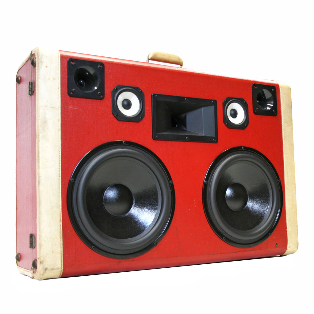 Candy Cane Monster 400 Watt BoomCase - vintage suitcase portable boombox