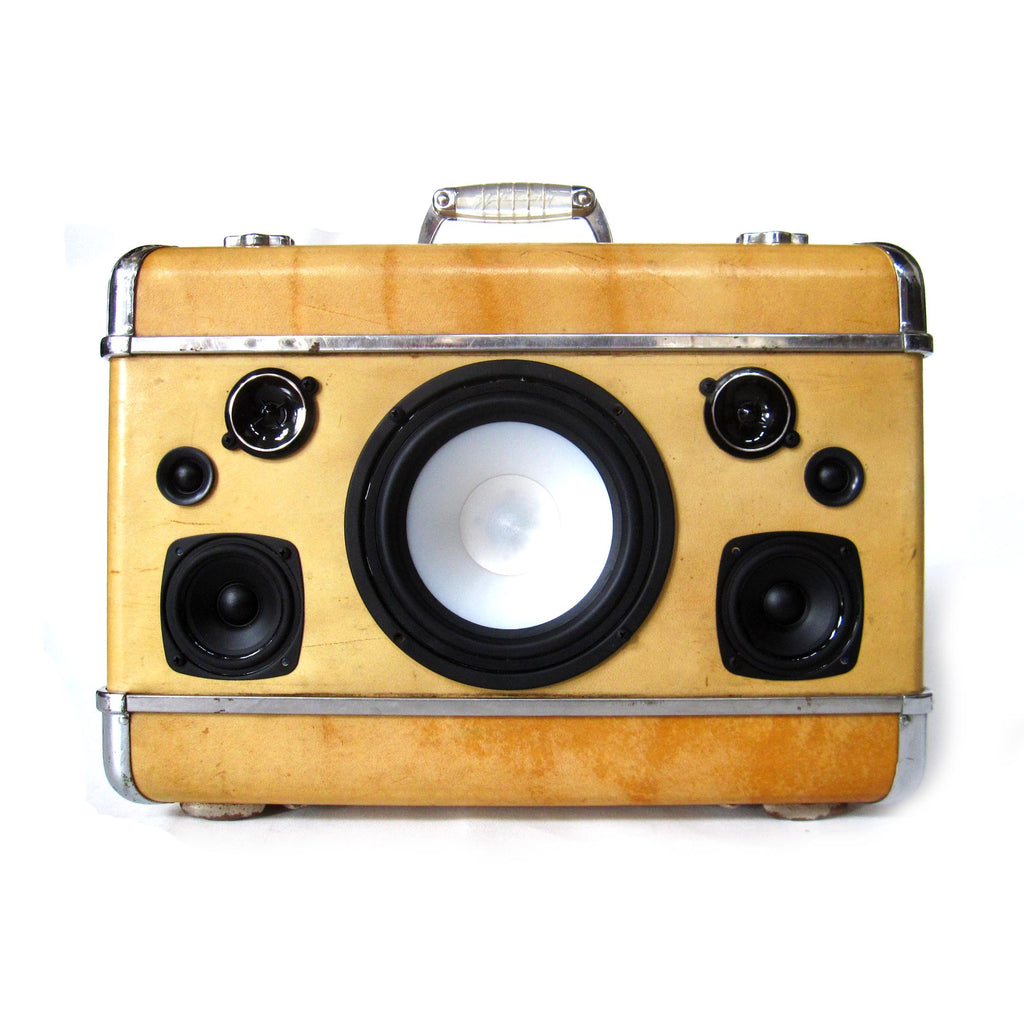 Chrome Deluxe 200 Watt BoomCase - Vintage Suitcase BoomBox Suitcase Speaker w/ Bluetooth