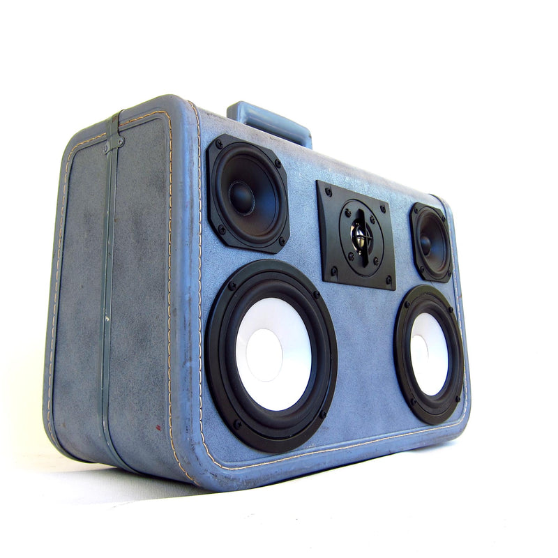 Denim Delux 100 Watt BoomCase - Vintage Suitcase BoomBox Suitcase Speaker w/ Bluetooth