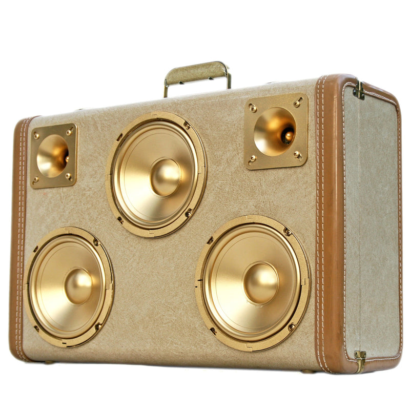 Golden Child 200 Watt BoomCase - Vintage Suitcase BoomBox Suitcase Speaker w/ Bluetooth