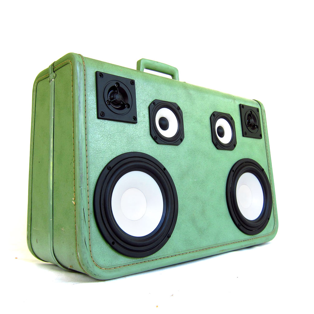 Green Machine 100 Watt BoomCase - vintage suitcase portable boombox