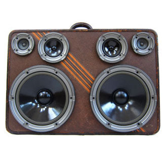 Grizzly Gold 400 Watt BoomCase - Vintage Suitcase BoomBox Suitcase Speaker w/ Bluetooth