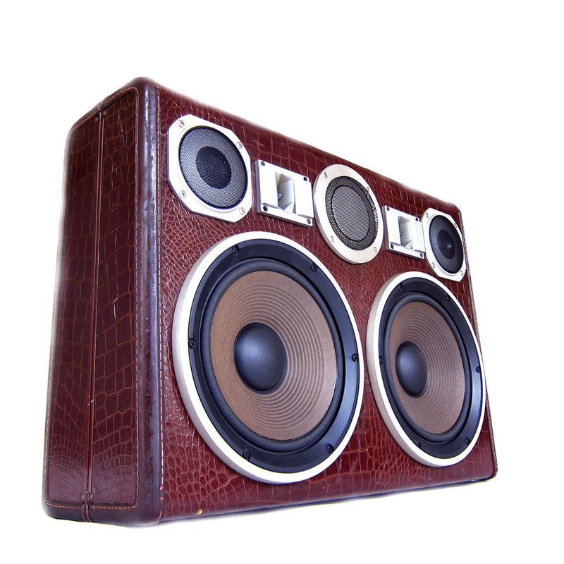 Mecha Monster Gator 200 Watt BoomCase - Vintage Suitcase BoomBox Suitcase Speaker w/ Bluetooth