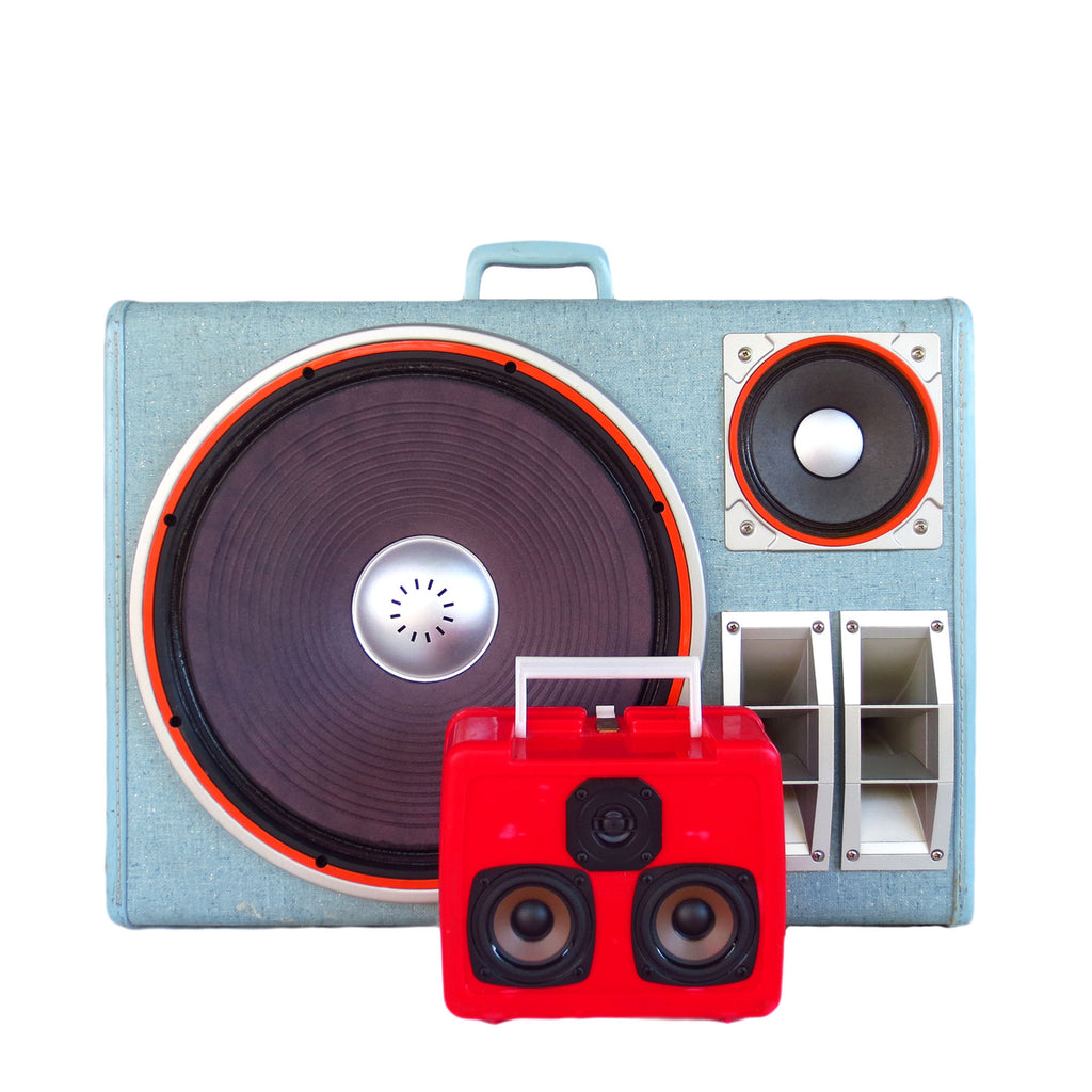 Party Crusher 400 Watt BoomCase - vintage suitcase portable boombox