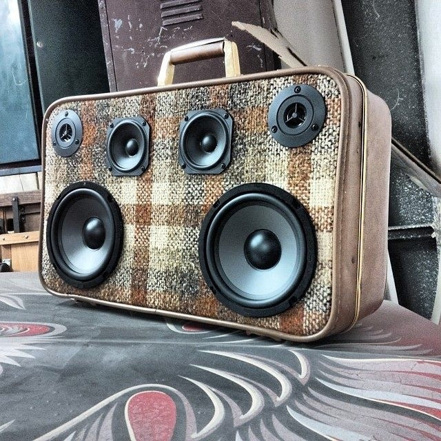 Mr. Plaid 100 Watt BoomCase - Vintage Suitcase BoomBox Suitcase Speaker w/ Bluetooth