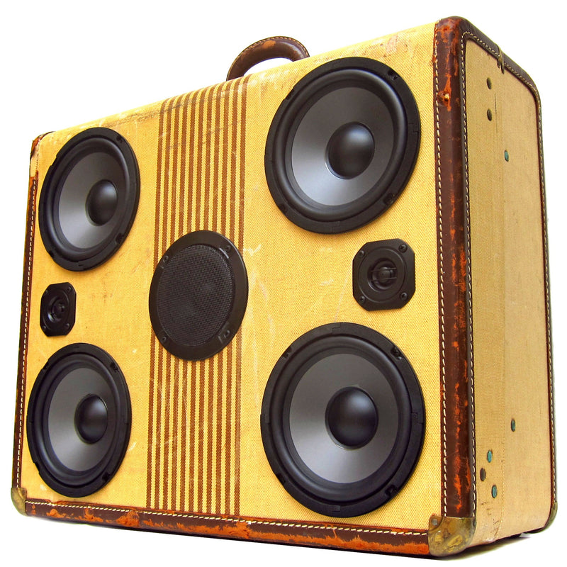 Signature Series Tweed 200 Watt BoomCase - Vintage Suitcase BoomBox Suitcase Speaker w/ Bluetooth