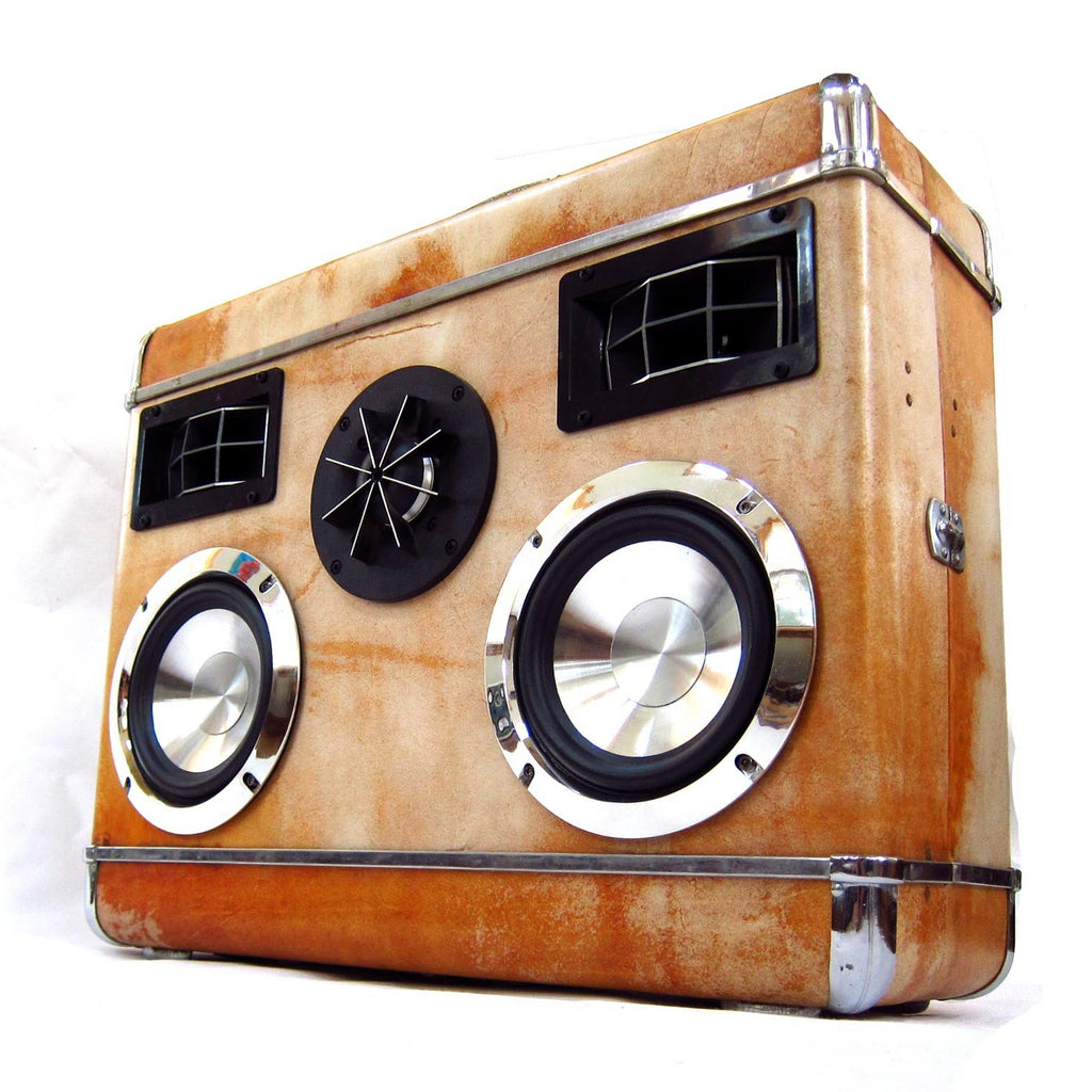 Silver Knight 200 Watt BoomCase - Vintage Suitcase BoomBox Suitcase Speaker w/ Bluetooth