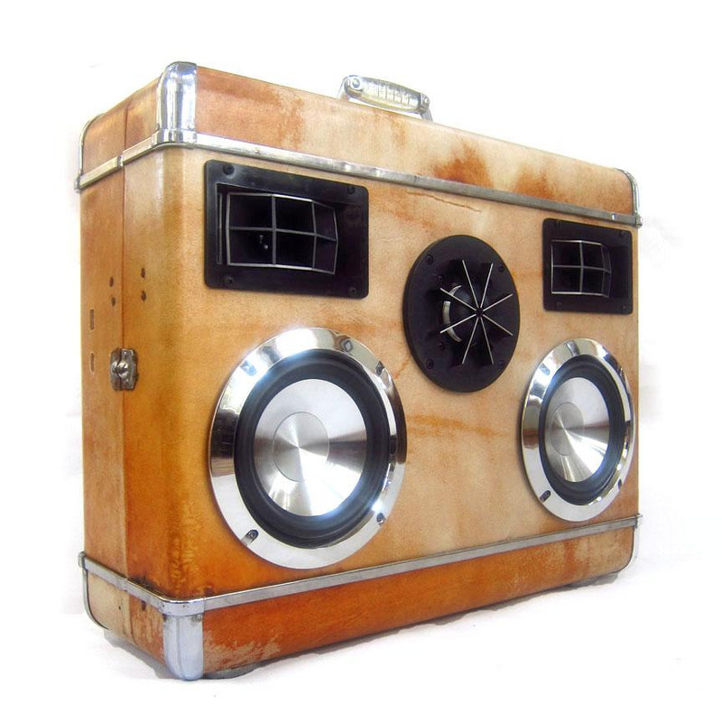 Silver Knight 200 Watt BoomCase - vintage suitcase portable boombox
