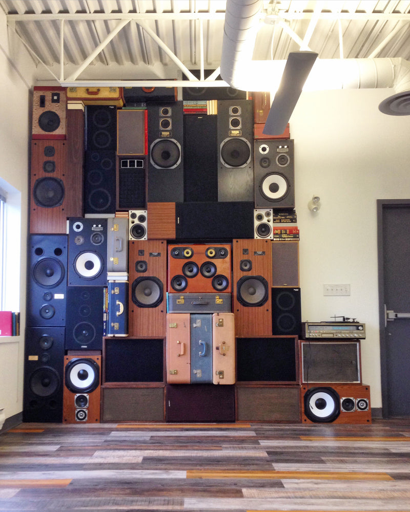 Speaker Wall 1000 Watt BoomWall - Vintage Suitcase BoomBox Suitcase Speaker w/ Bluetooth wall of speakers