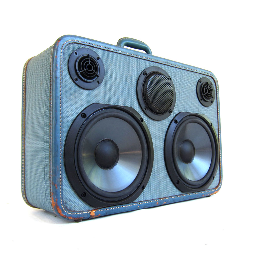 Turbo Blue 200 Watt BoomCase - vintage suitcase portable boombox