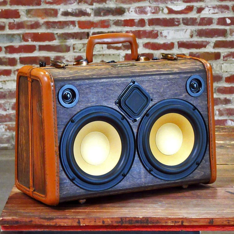 Classic Woodgrain 50 Watt BoomCase - vintage boombox bluetooth suitcase portable