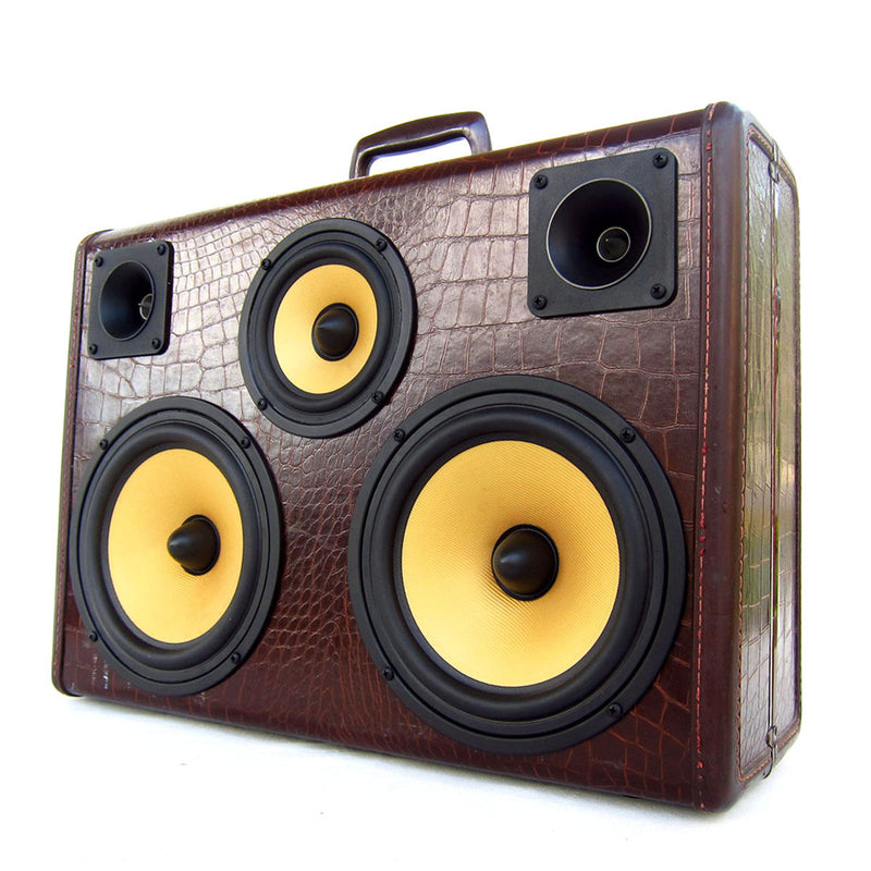 Golden Gator 200 Watt BoomCase - Vintage Suitcase BoomBox Suitcase Speaker w/ Bluetooth